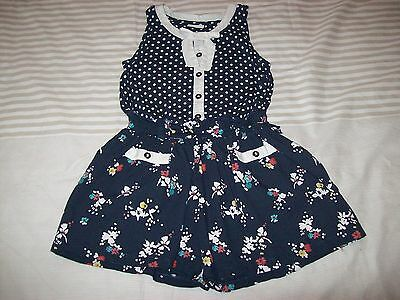 Girls Playsuit - Navy - Floral/Spots Design (Next 6 Years)
