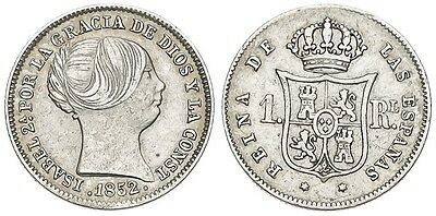 ☆ ☆ Spanien ☆ Spanish Silver • 1 Real 1852 Madrid • Isabel Ii ☆ Cal-363 ☆ ☆C3209