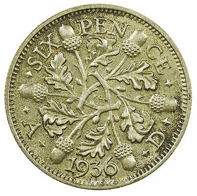 Great Britain, George V Sixpence, Silver, High Grade, 1936