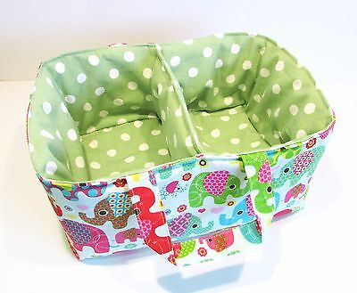 Handmade Nursery Fabric Nappy Holder Caddy - Green dpts & elephants on blue