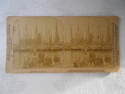 Antique Stereoview Stereo Card FISHERMAN FAMILY MARKAM ZUIDER ZEE HOLLAND Photo