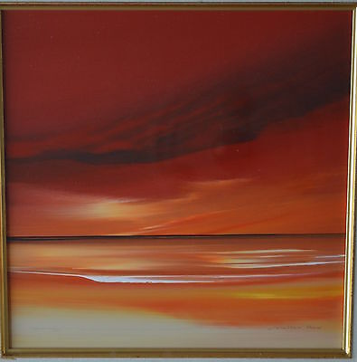 Jonathan Shaw Listed Artist Original Painting Stunning Red & Yellow Sky