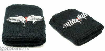 Pair Men Women Dragonfly Logo Wrist Sweat Band Retro Gift Terry Cloth