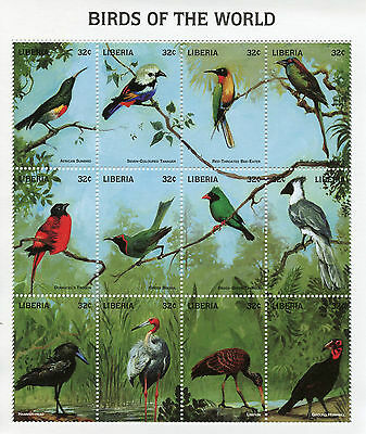 Liberia 1998 MNH Birds of World 12v M/S Sunbird Tanager Bulbul Trogon Stamps