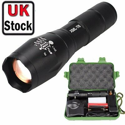 Police Tactical T6 LED Adjustable Flashlight Torch Charger 18650 5000lm UK-07