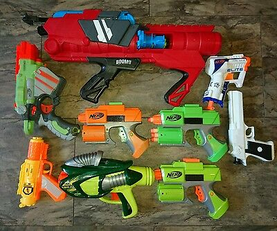 bundle of 9 nerf and other brand guns blasters