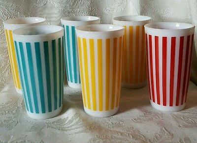 6 Vintage Hazel Atlas Candy Striped Glasses Juice Tumblers Red, Yellow and Blue