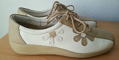 Ladies Hotter Salsa White and Beige leather lace-up shoes size 5.5