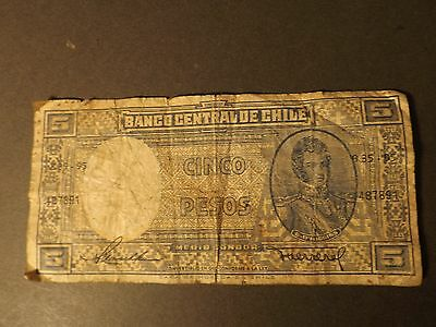 Chile 5 Pesos Bank Note Used