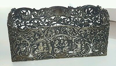 Antique German sterling Silver Repousse Village Life People Napkin Holder