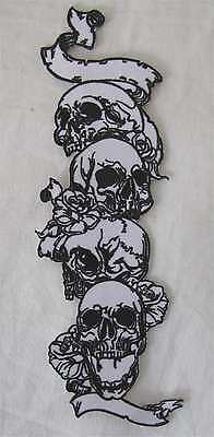 Rare Large Skeleton Skull Tails Motorcycle Biker Embroidered Sew On Badge Patch