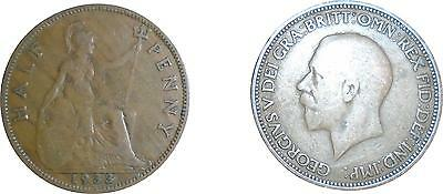 USED British George V 1933 half Penny Coin (One Coin Only) (D.T)