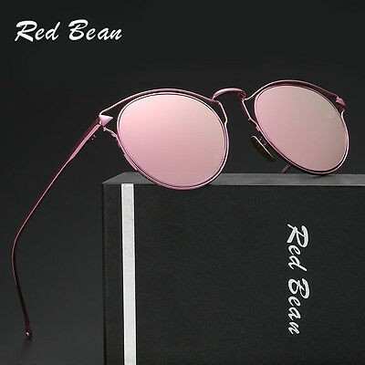 Women Retro Metal Frame Mirrored Cat Eye Sunglasses Vintage Glasses Eyewear New