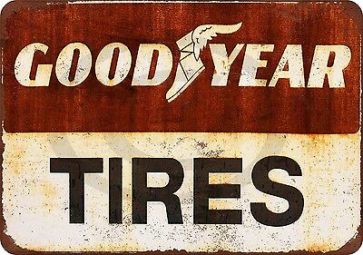 Goodyear Tires reproduction metal sign vintage ad tin 8 x 12 made USA