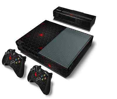 Custom Black Red XBOX one Skin Decal Sticker Console 2 controller skins