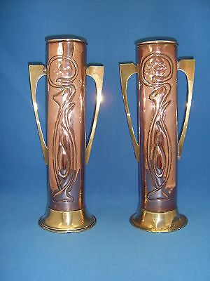 Pair of Old Copper & Brass Vases Arts & Crafts or Art Nouveau