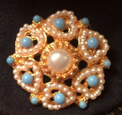Vintage Gold Turquoise And Pearl Brooch