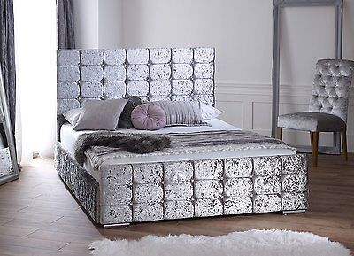 CRUSHED VELVET Upholstered Storage Bed Frame , Single, double and king