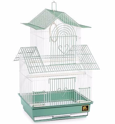 Bird Cage Parakeet Cockatiel Finch Parrot Pet Play Hanging House Green/White New