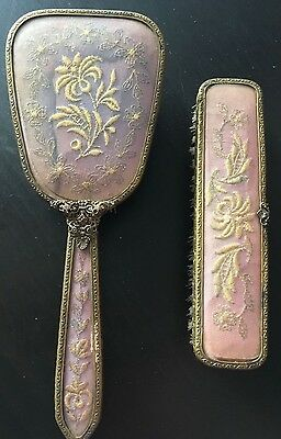 Vintage Hair Brush and Clothes Brush - Gold embroidery on pink background