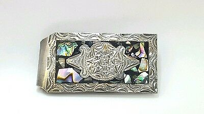 Vintage Mexico Sterling 925 Abalone Shell Money Clip