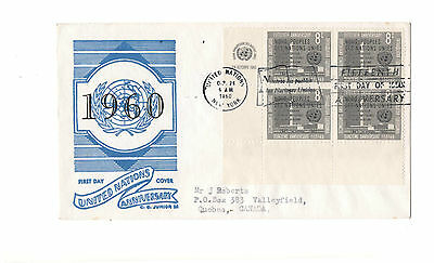 United Nations 15Th Anniversary 1960 Fdc  With Corner Block On Cover