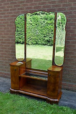 Wonderful Art Deco Dressing Table/ Cabinet with 3 mirrors