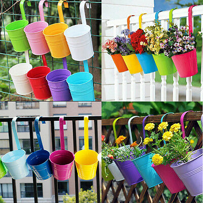 Hanging Flower Pots Set Of 10 Wall Planter Balcony Pot Garden Plant Metal Basket