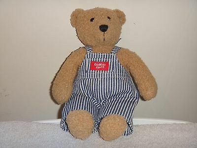 "Osh Kosh B Gosh Plush Tan Teddy Bear Blue White Stripe Overalls 11"" Stuffed Toy"