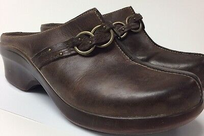 Ariat 7.5 m brown leather equine horse slip on clogs shoes