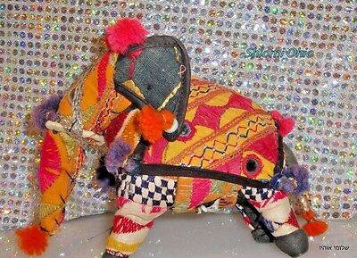 """VTG cloth colorful Rajasthan art  Elephant  8"""" hand woven/ 100% Cotton India"""