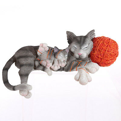 Various Cute Collectable Cat with Kitten with Wool Large Figurine