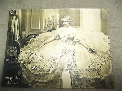 """Mary Pickford in Secrets Promotional Photo Card - Signed 8.5"""" X 6'5"""""""
