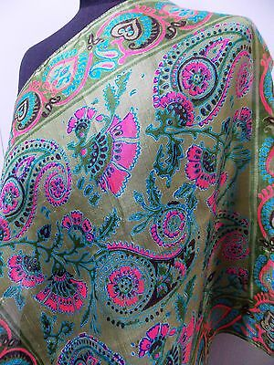 Vintage 1970s Indian Green & Pink Hand Block Printed Silk 55cm Square Scarf