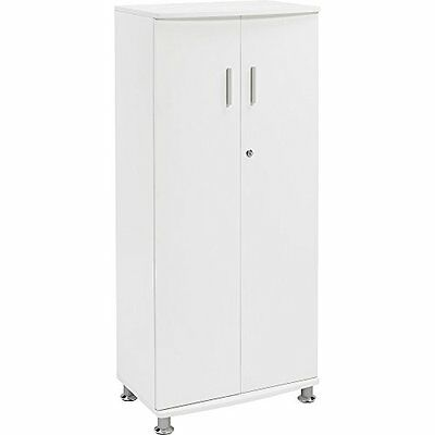 Lockable Office Cupboard Furniture Storage Organize Cabinet With 3 Shelves White