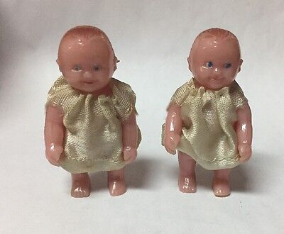Two Vintage Renwal Miniature Doll House #8 Baby Dolls in Dress