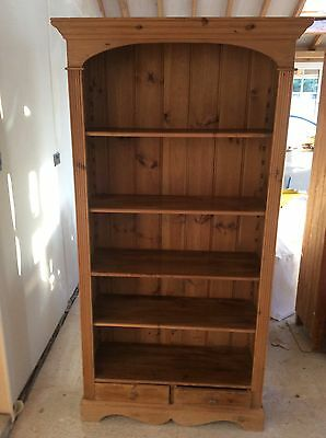 Solid Pine Waxed Bookcase With Two Drawers
