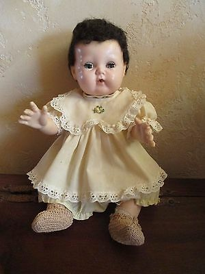 """Vintage AMERICAN CHARACTER Tiny Tears Doll 15"""", 2 Outfits & Crocheted Booties"""