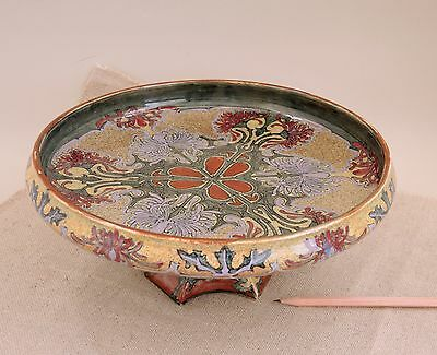 J W Mijnlieff Holland Utrecht Tazza Footed Charger Art Nouveau Faience Compote