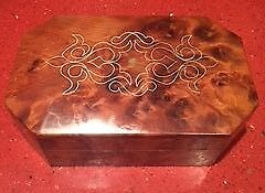 Walnut Hinged box jewellery storage inlaid gold and mother of pearl