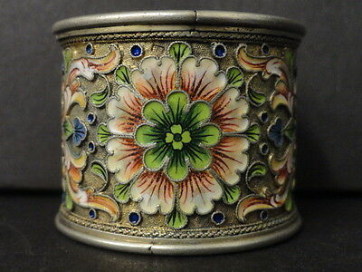 Antique Russian silver 84 cloisonne shaded enamel napkin ring by Nikolay Zverev