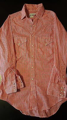 Vintage Women's Rockmount Ranch Wear Red White Pearl Snap Western Shirt Cowgirl
