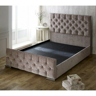 New Fabric Upholstered Bedframe Chenille 4Ft6 Double 5Ft King Size