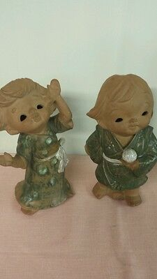 """Vintage 10"""" Japanese Boy and Girl Pottery Sculpture Festival Figurines"""