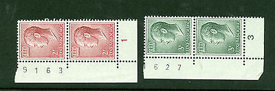Luxembourg definitive pairs with plate numbers.