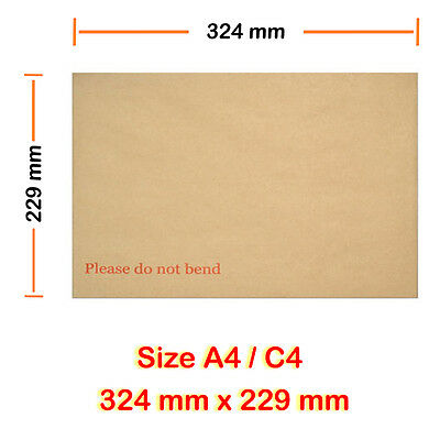 250 C4 A4 Hard Board Backed Envelope Manilla GOOD QUALITY NEXT DAY DELIVERY