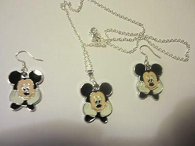 """MICKEY MOUSE SET 925 Sterling Silver 22""""Chain/ER Enamal Painted MM-SET USA Sell"""
