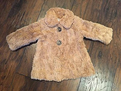 Green Dog Baby Girl Brown Fur Coat Size 12 Months
