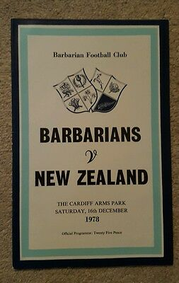 Barbarians v New Zealand 1978 rugby union programme