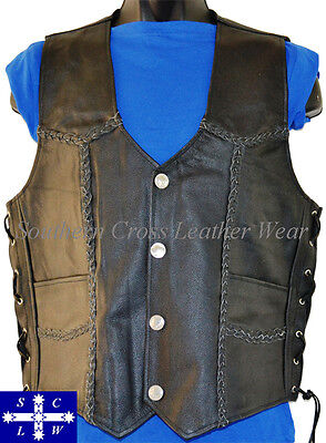 Men's Motorcycle Braided Buffalo Nickle Snap Buttons Leather Vest